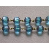 Czech Linked Rosary Chain, 8mm Light Aqua Faceted Beads, Antique Gold Linked Chain, (Sold by the Meter)