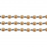Czech Linked Rosary Chain, 6mm, Round Gold Pearl, Black Link (Sold by the Meter)