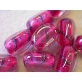 Czech Glass Three Sided Lampwork Zebra Bead 12x8mm, Fuschia Opaque
