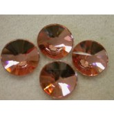 Preciosa Czech Crystal Glue-on Rhinestone Flatback Rivoli, 16mm, Apricot