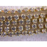 Czech Rhinestone Metal Banding, 1-Row, Crystal in Gold Setting, ss8.5