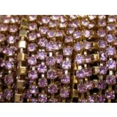 Czech Rhinestone Metal Banding, 1-Row, Light Amethyst in Gold Setting, ss12