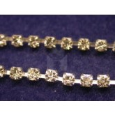 Czech Rhinestone Metal Banding, 1-Row, Crystal in Silver Setting, ss12