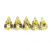 Czech Rhinestone Crystal Pear Sew On Stone 10x6mm, Jonquil In Silver Setting