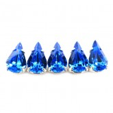 Czech Rhinestone Crystal Pear Sew On Stone 10x6mm, Sapphire In Silver Setting
