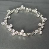 """Czech Rhinestone Bracelet 1-Row Flat with Alternating Side Stones in Round Setting, ss18 Crystal Drop, Crystal in Silver Setting, 7"""""""