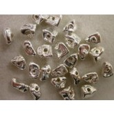 Copper/SterlingSilver Ctd Hollow Rock Bead pc12